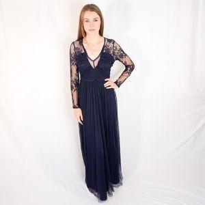 ASOS Illusion Blue Lace Long Sleeve Maxi Dress